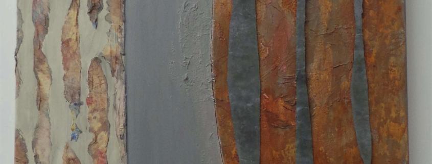papiercollage met lood en acryl