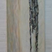 papiercollage met lood en acrylschildering